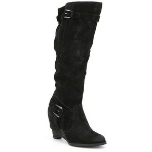 Naughty Monkey Double Up BLCK SUEDE TALL BOHO boot